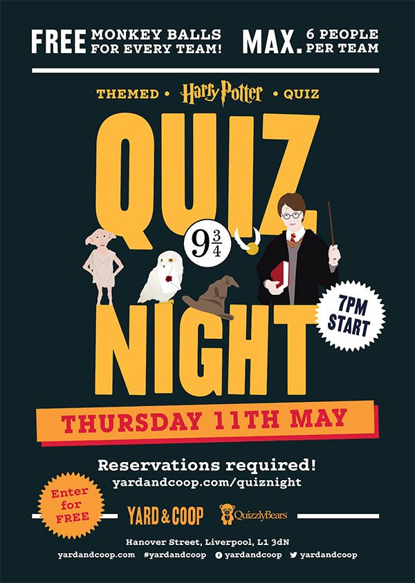 Y&C HARRY POTTER QUIZ NIGHT POSTER A3 - Yard and Coop